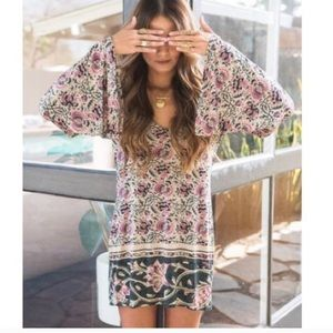 Chaser Floral Long Bell Sleeve Boho Mini Dress